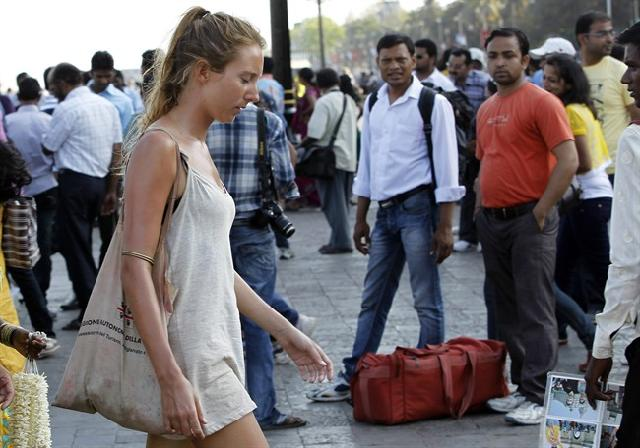 a-foreign-woman-tourist-in-India